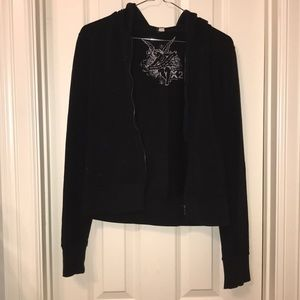 Express X2 Black Sweater Jacket with Hoodie S